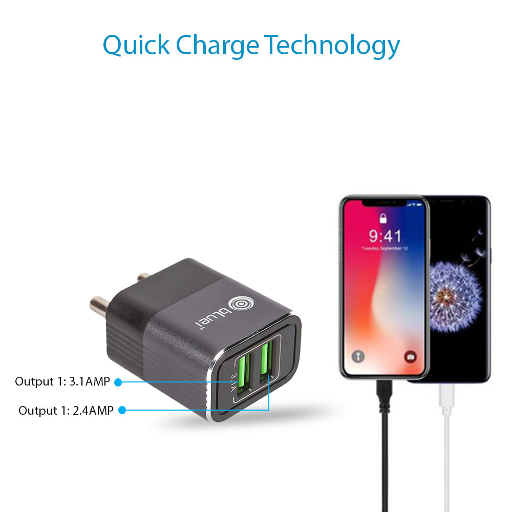 TC-02 3.1 Amp Mobile Charger with 2 USB Port & 1m USB Cable
